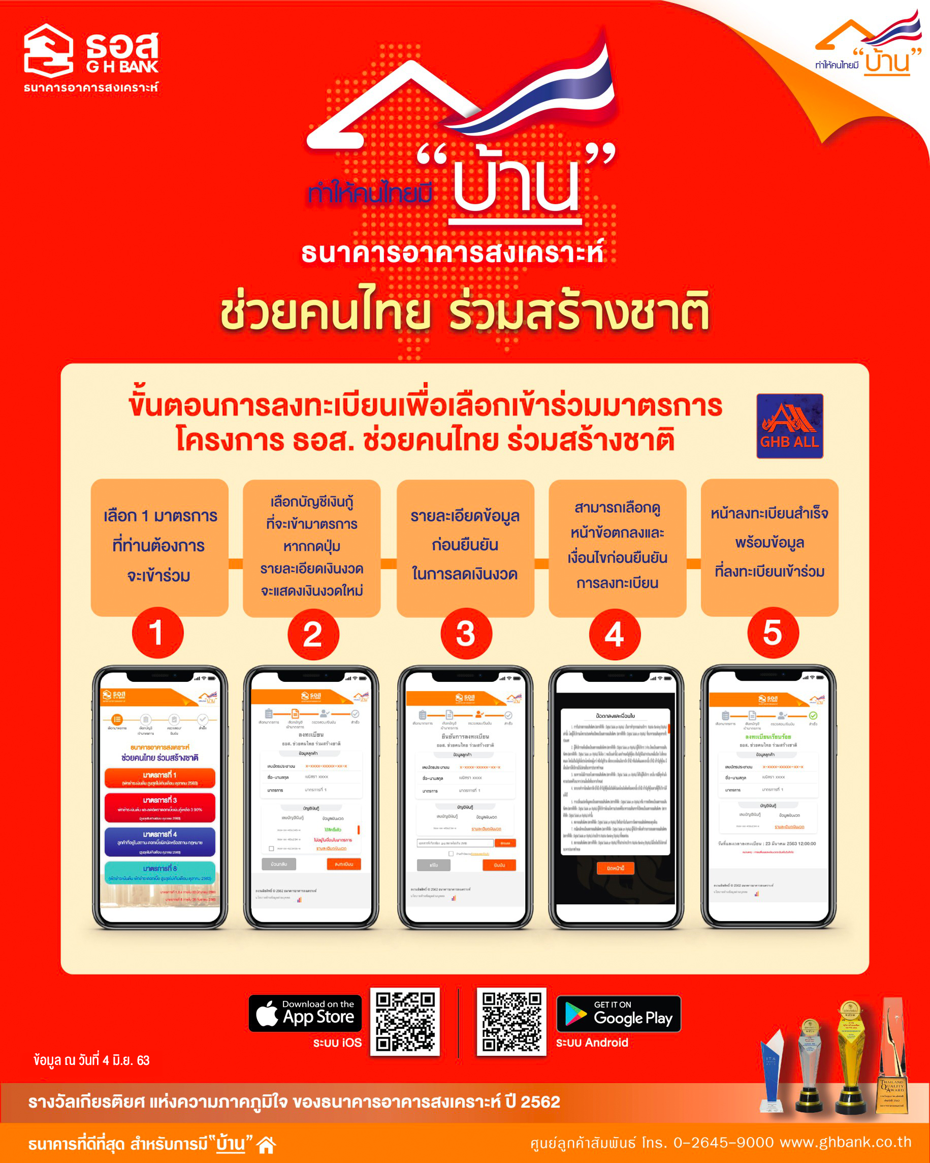 ขั้นตอนการลงทะเบียนเพื่อเลือกเข้าร่วมมาตรการ โครงการ ธอส. ช่วยคนไทย ร่วมสร้างชาต